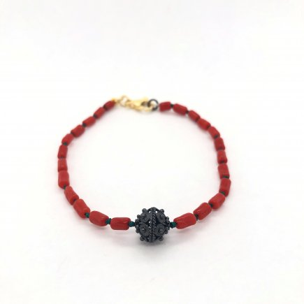 Delicate red coral and traditional filigree bracelet