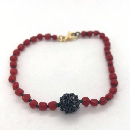 Traditional filigree and red coral bracelet