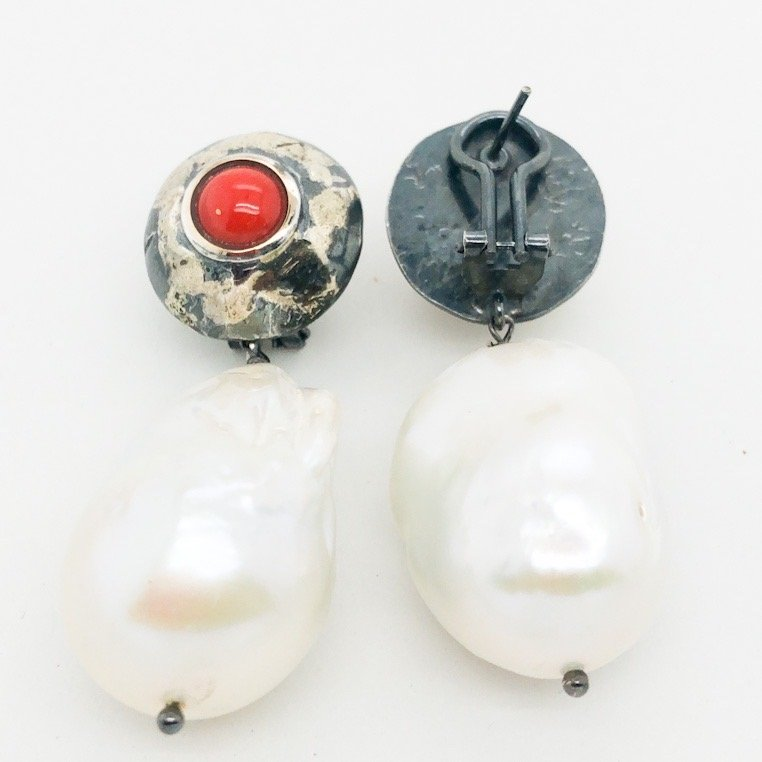 Silver and gold baroque pearl earrings