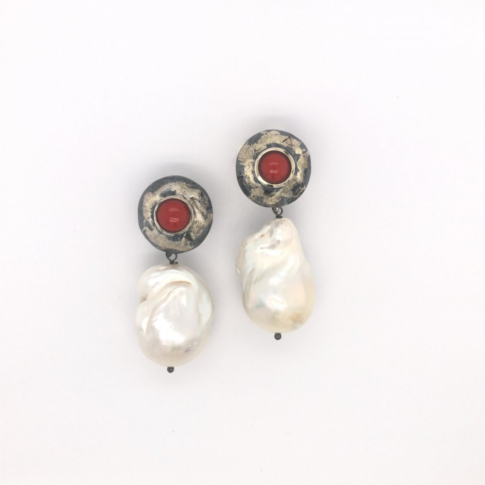Baroque pearls silver and gold earrings