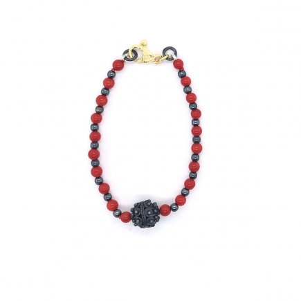 Perfect round red coral filigree bracelet