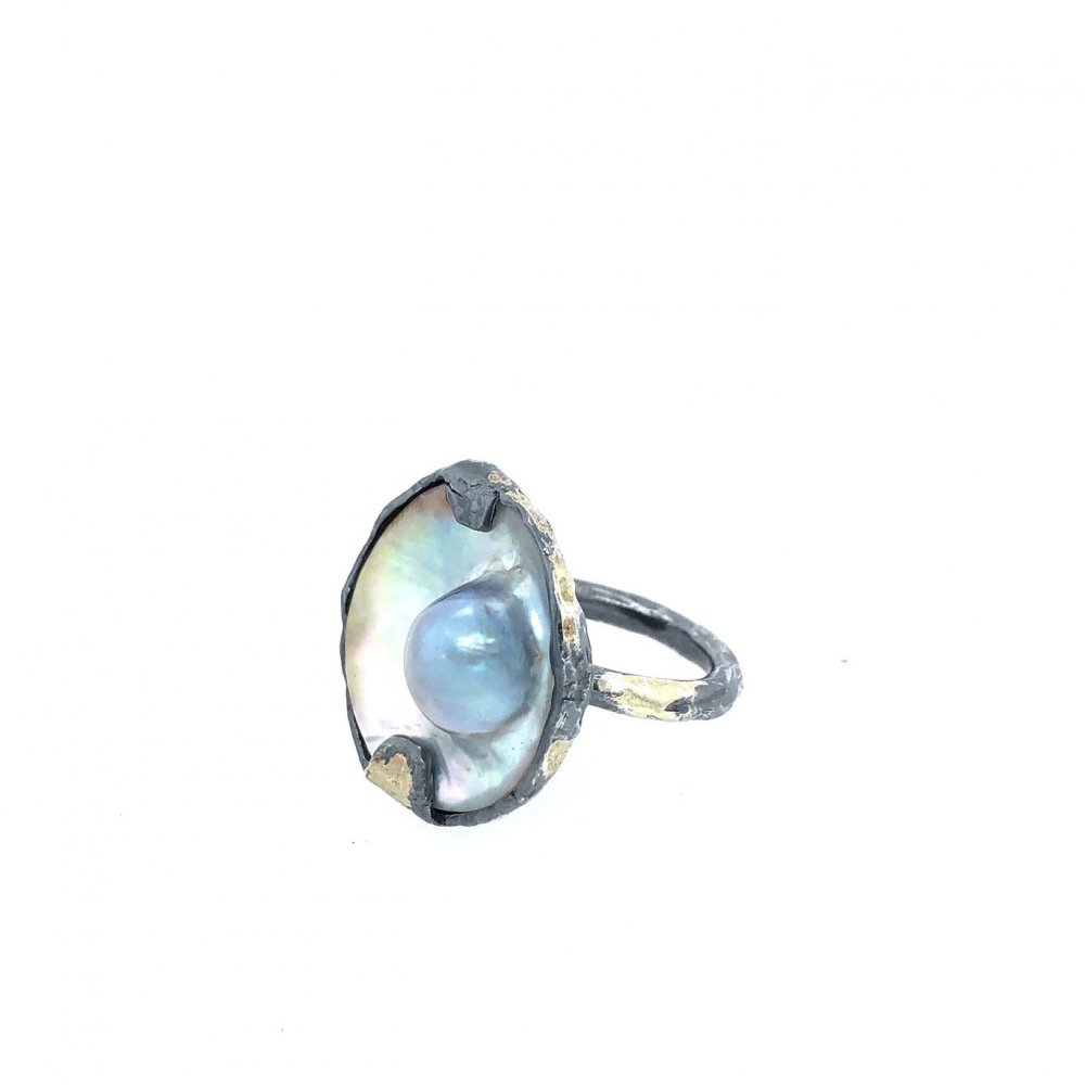 Clara Stones Pearl Volcano Ring in Silver and Gold