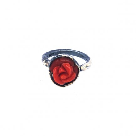 Red rose coral ring silver and gold