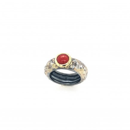 SIlver gold coral ring