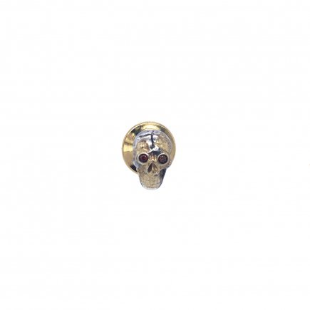 Brown Diamond skull pin in silver and gold