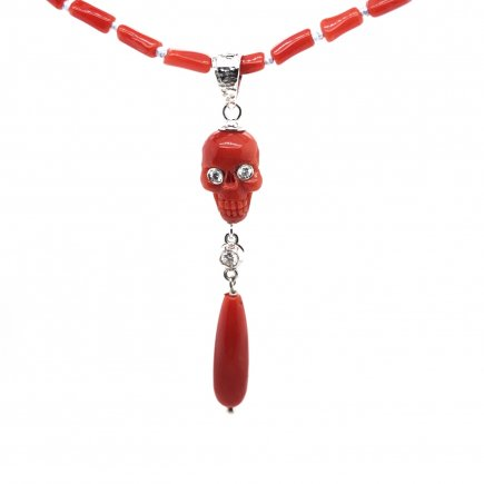 Red coral white gold and diamonds skull pendant